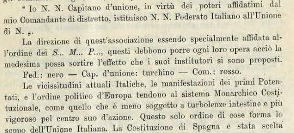 dalla formula di ricevimento dei Federati Italiani